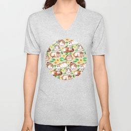 Guinea Pigs and Daisies in Watercolor Unisex V-Neck