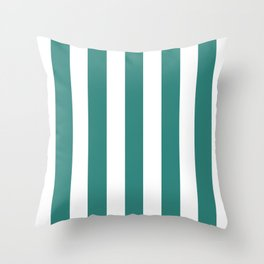 Celadon green - solid color - white vertical lines pattern Throw Pillow