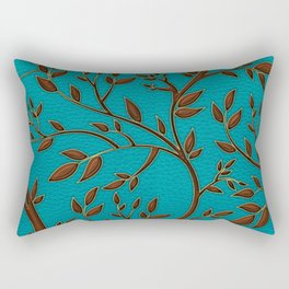 Teal Leather and Gold Tree Leaves pattern Rectangular Pillow