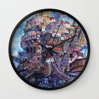 calcifer Wall Clocks featuring Howl's Moving Castle Painting by Little Miss Marikit
