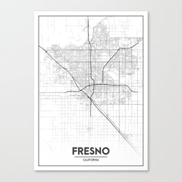 Minimal City Maps - Map Of Fresno, California, United States Canvas Print
