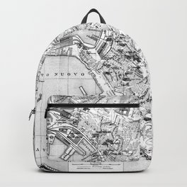 Vintage Map of Genoa Italy (1906) BW Backpack