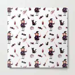 Little Witch Pattern Metal Print
