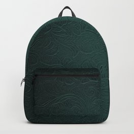 Forest Green Tooled Leather Backpack