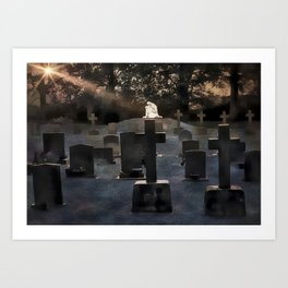 Gravestones and statue Art Print