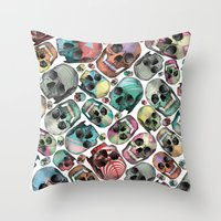 skulls Throw Pillows featuring Skulls by Devin McGrath
