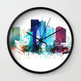 Denver Watercolor Skyline Wall Clock