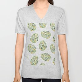 Artistic hand painted yellow green watercolor floral easter eggs Unisex V-Neck