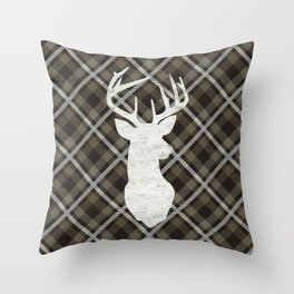 Farmhouse Decor, Stag, Deer and Plaid, Rustic Khaki Brown Throw Pillow