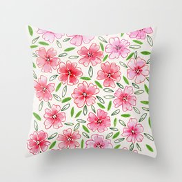 Loose and free florals Throw Pillow