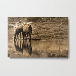 Mother and son drinking Metal Print
