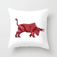 Origami Bull Throw Pillow