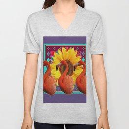 THREE SAFFRON FLAMINGOS YELLOW FLOWER PURPLE ART DECO Unisex V-Neck