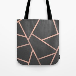 Dark Grey and Rose Gold Textured Fragments - Geometric Design Tote Bag