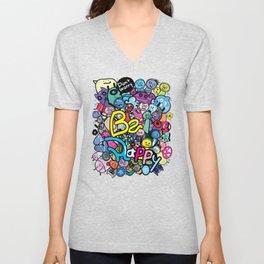 Be Happy doodle monster Unisex V-Neck