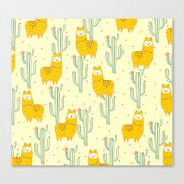 Alpaca summer pattern Canvas Print