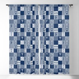 Jungle Friends Shades of Blue Cheater Quilt Blackout Curtain