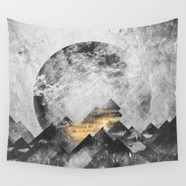 One mountain at a time - Black and white Wall Tapestry