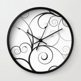 Black and Gray Swirls and Circles Wall Clock