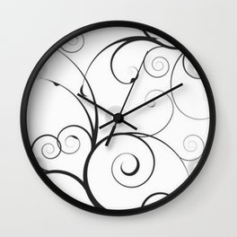 Black and Gray Swirls and Circles Wall Clock