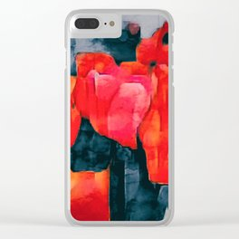 Tulip Field at Night Clear iPhone Case