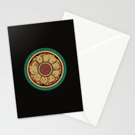 Pata Pattern in Green & Yellow Stationery Cards