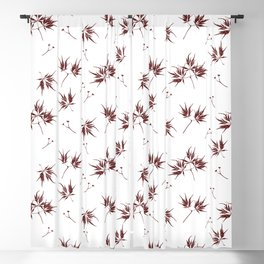 Red Acer Pattern Blackout Curtain
