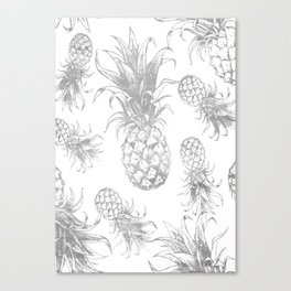 grayscale pineapple pattern, vintage tropical desing Canvas Print