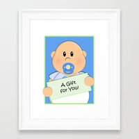 gift card Framed Art Prints featuring A Gift for You by Fat Baby Expressions