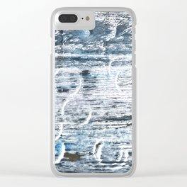 Columbia Blue abstract watercolor Clear iPhone Case