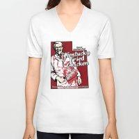 utah V-neck T-shirts featuring KFC (Utah) by Geekleetist