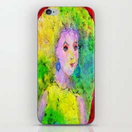 Green Hair Don't Care iPhone Skin