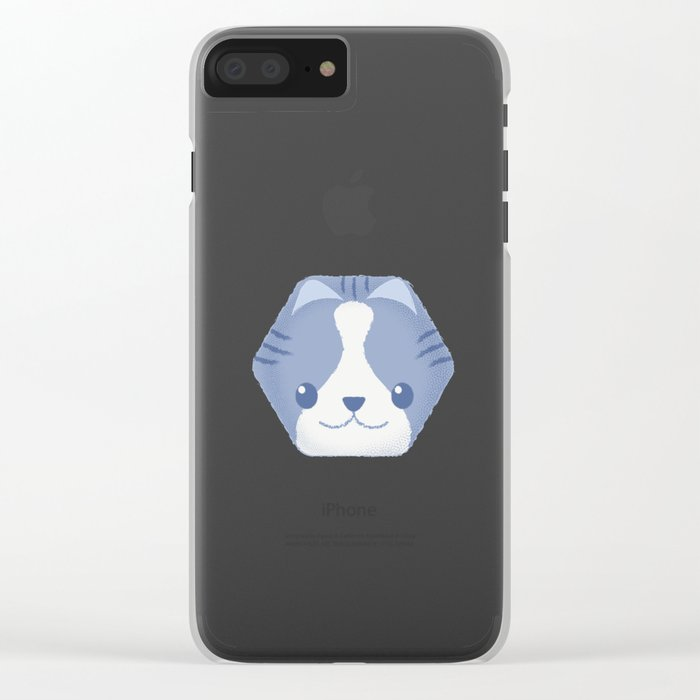 Hexy Cats_Blue Clear iPhone Case