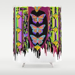 Butterfly Garden Western Style Black Fringed Shawl Shower Curtain