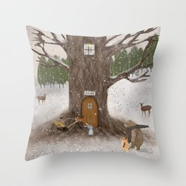 merry berry wood Throw Pillow