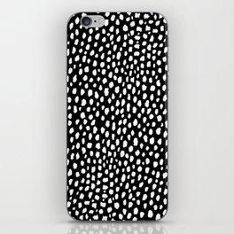 Handmade polka dot brush strokes (black and white reverse dalmatian) iPhone Skin