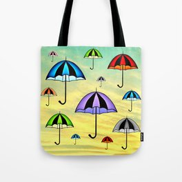 Colorful umbrellas flying in the sky Tote Bag