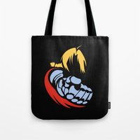 fullmetal Tote Bags featuring Minimal Edward  by jpmdesign