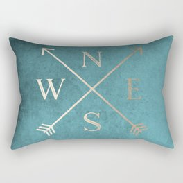 Gold on Turquoise Distressed Compass Adventure Design Rectangular Pillow