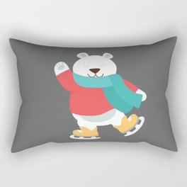 Polar Bear Go Skiing for Merry Christmas Rectangular Pillow