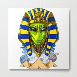 Alien Egyptian Pharaoh Tutankhamun Ancient Conspiracy Metal Print