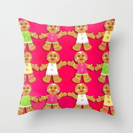 Gingerbread Men and Gingerbread Woman Cookies Throw Pillow
