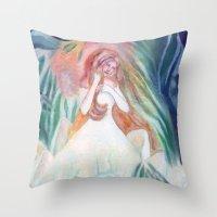 bianca green Throw Pillows featuring fata bianca by Francesca D'Angelo