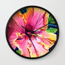 Tropical Bliss Hibiscus Wall Clock