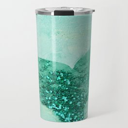 A Mermaid's Tail III, painterly coastal art, aqua metal Travel Mug