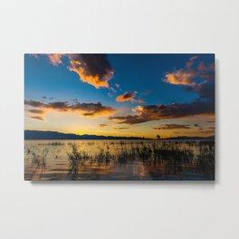 Sunset clouds over lake Metal Print