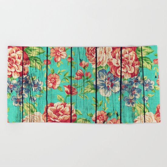 Flowers on Wood 06 Beach Towel