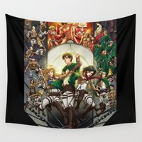 shingeki no kyojin Wall Tapestries featuring wir sind die Jager (we are the hunters) by ghostfire