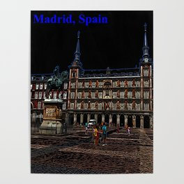 Neon Art of a plaza in Madrid, Spain Poster