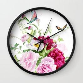 flowers with butterflies Wall Clock